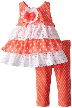 NWT RARE EDITIONS GIRL'S size 2 PRECIOUS Coral Rumba Top & Leggings Outfit…