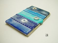Business card case Washed out denim Polymer by ArtStudioKatherine