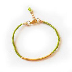 Gold bar bracelet with green beads trendy fashion bracelets DicopeJewelry