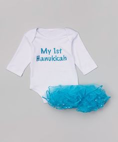 Loving this White 'My 1st Hanukkah' Bodysuit & Tutu - Infant on #zulily! #zulilyfinds