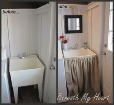 tutorial for dressing up a utility sink with a skirt  beneath my heart