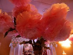 A closer look at these incredible, huge paper flower centerpieces for a first birthday at Grand Marquis! Absolutely incredible. http://www.grandmarquiscaterers.com.  #pink, #firstbirthday, #GrandMarquis, #girlsbirthday.