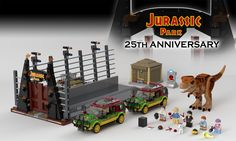 Celebrate the 25 years of Jurassic Park building one of the most iconic scenes in the history of cinema! Join the tour group and visit the Tyrannosaurus rex Paddock, the main attraction of Jurassic Park. Open the gates to lead the JP Explorer. Lego Jurassic Park, Jurassic Park World, Legos, Jurrassic Park, Best Lego Sets, Lego Bedroom, Amazing Lego Creations, Lego Activities, Lego Design