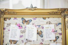 Image by Sarah-Jane Ethan - Elegant Marquee Wedding At Thwaite Hall Yorkshire With Bride In Pronovias And Bridesmaids In Silver Ghost Dresses With Groom International Athlete David Gillick In Lapel 1865 Table Plan mounted in Gold Guilt Frame with Butterfly backing and accents