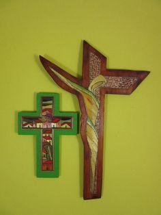 2 VTG Mexican Christian Religious POPOTE CROSS Straw Mosaic Folk Art Crucifix
