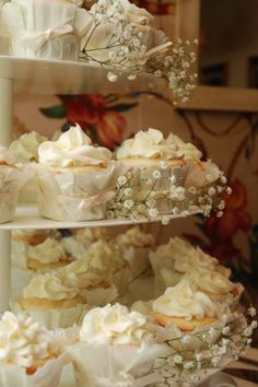 Love the babys breath mixed with the cupcakes. Very soft and romantic.