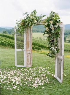 10 Rustic Old Door Wedding Decor Ideas If You Love Outdoor Country Weddings Add Some Rustic Charm And Flavor To The Fairytale Wedding Of Your Dreams. These Rustic Old Door Wedding Decor Ideas Will Amaze, Delight Any Outdoor Wedding. Wedding Arch Rustic, Outdoor Wedding Decorations, Ceremony Decorations, Arch Decoration, Wedding Venues, Backdrop Wedding, Wedding Table, Wedding Themes, Vintage Outdoor Weddings