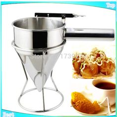 2015 free shipping commercial fish ball taiyaki funnel takoyaki funnel stainless steel takoyaki funnel lunch