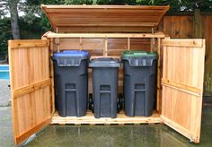 outdoor garbage can storage garbage can shed outdoor living today oscar trash can storage shed . Garbage Can Shed, Garbage Can Storage, Outdoor Storage Sheds, Shed Storage, Trash Can Storage Outdoor, Patio Storage, Storage Ideas, Pallet Storage, Kayak Storage