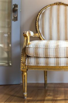 Victoria Robinson Interiors - antique gilt chair reupholstered