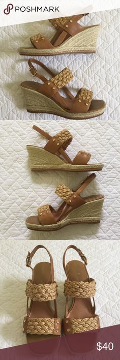"""Antonio Melani Wedges Comfortable and cute - braided espadrilles- clasp opening - approx 3.5"""" heels - leather sole - man made upper - only worn once/EUC ANTONIO MELANI Shoes Wedges"""