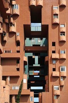 Walden 7 Apartments, Barcelona by Ricardo Bofill architecture facade photography inspiration Barcelona Architecture, Brick Architecture, Beautiful Architecture, Architecture Details, Interior Architecture, Spanish Architecture, Unique Buildings, Interesting Buildings, Colourful Buildings