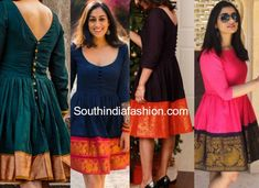 Saree dresses are a huge trend now. Let's take a look at few beautiful saree dress designs. Sewing Dresses For Women, Frock For Women, Trendy Dresses, Long Dress Design, Stylish Dress Designs, Sari Dress, Frock Dress, Frock Design, Lehenga