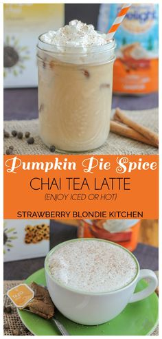 Kick start this fall season with a Pumpkin Pie Spice Chai Tea Latte. Pumpkin Pie creamer blended with seasonal spices such as cinnamon, ginger and cardamom in chai tea, meld together perfectly to bring you a delightfully warm {or iced latte} perfect for those crisp autumn mornings. | Strawberry Blondie Kitchen