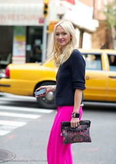 Big fan of Zanna Roberts Rassi, here she is in a hot pink palazzo pants and navy sweater. Hot Pink Pants, Navy Pants, Dressy Outfits, Fashion Outfits, Womens Fashion, Eat Sleep Wear, Fashion Colours, Get Dressed, Spring Summer Fashion