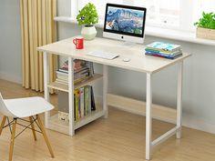 MONROE 100CM Computer Desk - WHITE Home Office Computer Desk, Home Office Space, Oak Table Top, Bookshelf Desk, Simple Desk, Table Top Design, Wooden Desk, Wooden Furniture, Black Desk