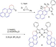 Synthesis of a pyrene-fused aza-BODIPY as a near-infrared dye having the absorption maximum at 746nm DOI: 10.1002/chem.201501464