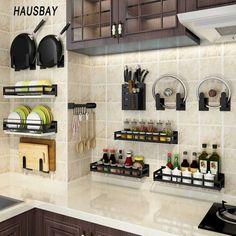 Kitchen Pantry Design, Modern Kitchen Design, Home Decor Kitchen, Interior Design Kitchen, Home Kitchens, Kitchen Small, Kitchen Furniture, Wall Mounted Kitchen Storage, Diy Kitchen Storage