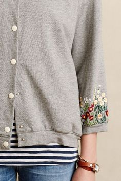 Button-down sweatshirt with sleeve / cuff embroidery | Anthropologie…