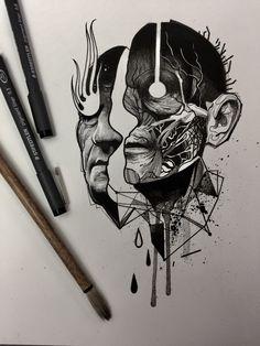 Anatomie new tattoo designs, new tattoos, body art tattoos, tattoo sketches Tattoo Sketches, Tattoo Drawings, Art Sketches, Blackwork, Headdress Tattoo, Dark Art Drawings, Occult Art, Dark Tattoo, Arte Horror