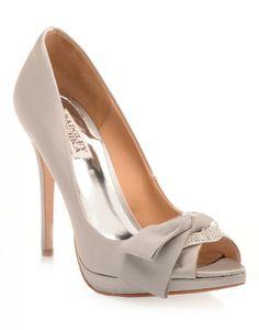 BADGLEY MISCHKA | Gylda Heels with Bow in Grey - Women - Style36