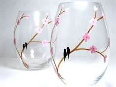Image Search Results for wine glasses painted with branches