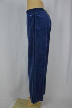 17.27$  Buy here - http://vimit.justgood.pw/vig/item.php?t=mv6s0d635543 - IZOD Movement Womens Large Blue Velour Track Sweat Pants Elastic Waist 17.27$