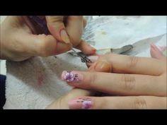 Unhas com Flor One Stroke - YouTube