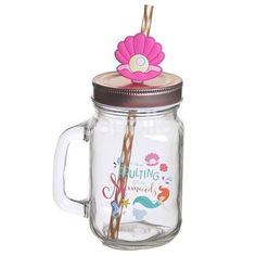 Enchanted Seas Mermaid Glass Mason Drinking Jar with a straw. Mermaid Glass, Drinking Jars, Seas, Drinkware, Mermaids, Enchanted, Mason Jars, Tableware, Tumbler