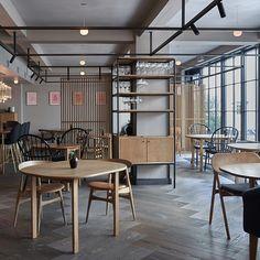 Wide plank herringbone flooring at restaurant Kadeau, Copenhagen - GrandPattern Douglas by Dinesen