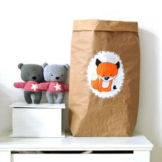 Hand painted paper storage bag Toy sack Paper bag door ZazoMini