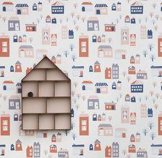 Village graphic children wallpaper on http://www.papierpeintdesannees70.com/