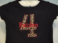 Short Sleeve Danskin Birthday Animal Print Personalized Leotard-gymnastics, dance, leotard, appliqued, personalized, custom, embroidered, girls, initial, pink, danskin, gymnastics, birthday, age, name, animal print, dancer, gymnast