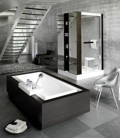 colors- gray, white and naturals an entire floor for a bathroom?? yes please! #bathroom