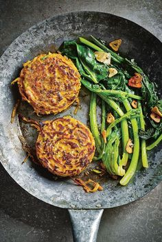 Sweet potato rösti with garlic butter greens