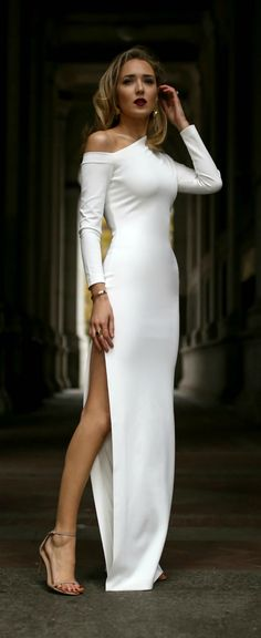 Bride's Rehearsal Dinner // White long sleeve cold shoulder crepe maxi dress, nude ankle strap sandals, gold sculptural earrings and a deep red lip {Solace London, AUrate New York, Stuart Weitzman, Amber Sceats, what to wear to your rehearsal dinner, rehearsal dinner dress, bride rehearsal dinner, winter style, winter wedding, classic style, fashion blogger}