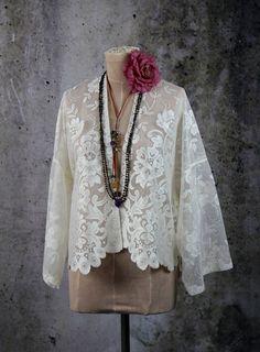 Shabby Chic Boho Lace Kimono Jacket Top Blouse by LaineeLee on Etsy