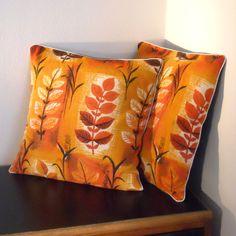 Retro cushion in 50s vintage fabric   Orange Leaf  by audreyscat, £15.00