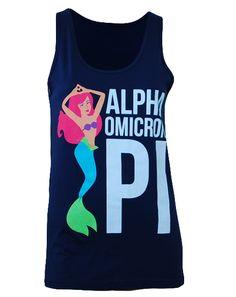 Alpha Omicron Pi Little Mermaid Tank by Adam Block Design | Custom Greek Apparel & Sorority Clothes | www.adamblockdesign.com