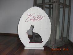 XXL-Ei 50 cm hoch mit ausgesägtem Hasen von holzwahn auf DaWanda.com