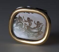 Intaglio. Two Eroses in a Boat Drawn by Four Dolphins, Ancient Rome, 1st century