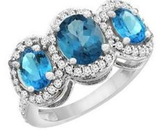 10K White Gold Natural London Blue Topaz & Swiss Blue Topaz 3-Stone Ring Oval Diamond Accent, Sizes 4 - 10
