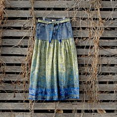 Long Jean Skirt - Blue Jean and Paisley Border Print Cotton  etsy.com