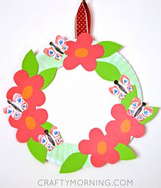 Paper Plate Flower Garden Wreath (Kids craft for spring or summer!) - Crafty Morning