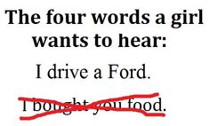 What? Since when are Fords sexy? And you're wrong. Food is always what I care more about.