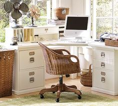 corner desk - with filing cabinets, I think you could make this yourself. Buy filing cabinets and cut and paint the top.