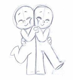 chibi couple reference pose draw the squad drawings, art - chibi couple drawing Character Drawing, Character Design, Cute Chibi Couple, Chibi Couple Base, Art Sketches, Art Drawings, Hugging Drawing, Photo Manga, Bff Poses