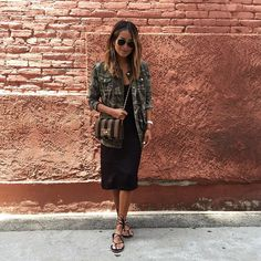 Easy breezy in a slip dress and our @shop_sincerelyjules camo jacket!  / shopsincerelyjules.com