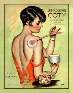 Art Deco Boudoir Flapper Print, Ruth Eastman,  Putting Cody Powder on her Back,  Cosmetics, Perfume ad, 1926, Giclee Fine Art Print,  11x14