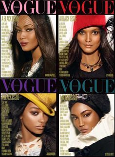 Vogue Italia, Black Issue, July 2008, Naomi Campbell, Liya Kebede, Jourdan Dunn And Sessilee Lopez by Steve Meisel.